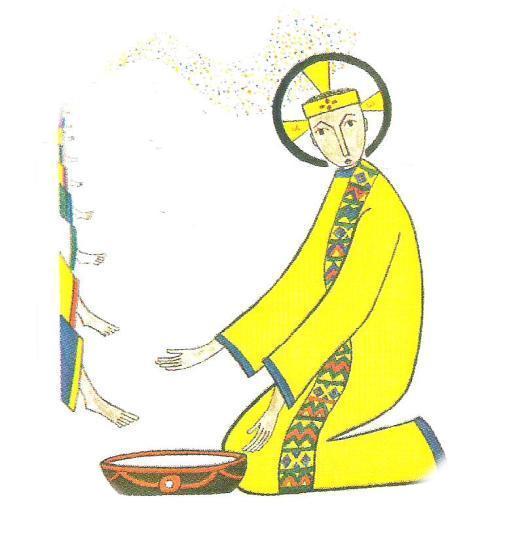 Lavement des pieds, peint par une auxiliaire du Sacerdoce