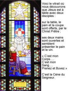 Les disciples d'Emaus, vitrail de Jean Coquet, chapelle des auxiliaires du Sacerdoce, Paray le Monial