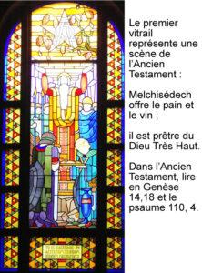 Melchisédech, vitrail de Jean Coquet, chapelle des auxiliaires du Sacerdoce, Paray le Monial