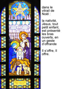 Nativité, vitrail de Jean Coquet, chapelle des auxiliaires du Sacerdoce, Paray le Monial